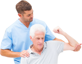 Caregiver is helping the old man to exercise